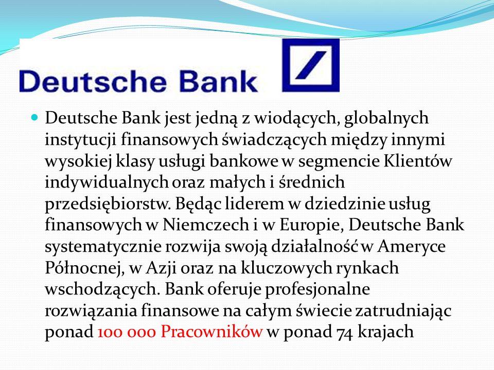 Deutsche Bank jest jedną z wiodących, globalnych instytucji finansowych świadczących między innymi wysokiej klasy usługi bankowe w segmencie Klientów indywidualnych oraz małych i średnich przedsiębiorstw.