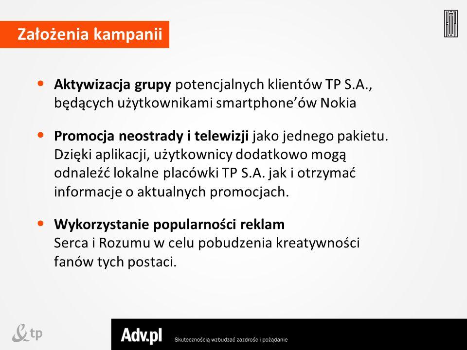 Założenia kampanii Aktywizacja grupy potencjalnych klientów TP S.A., będących użytkownikami smartphone'ów Nokia.