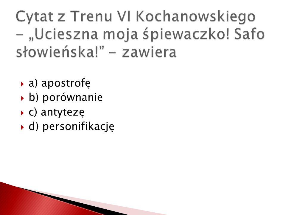 """Cytat z Trenu VI Kochanowskiego - """"Ucieszna moja śpiewaczko"""