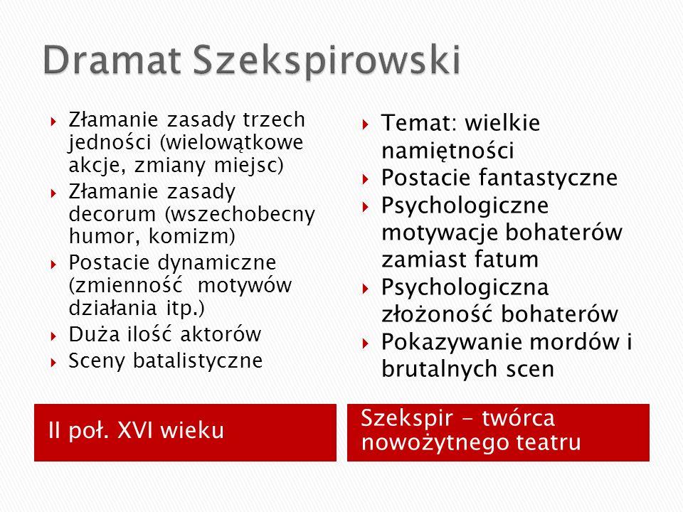 Dramat Szekspirowski Temat: wielkie namiętności Postacie fantastyczne
