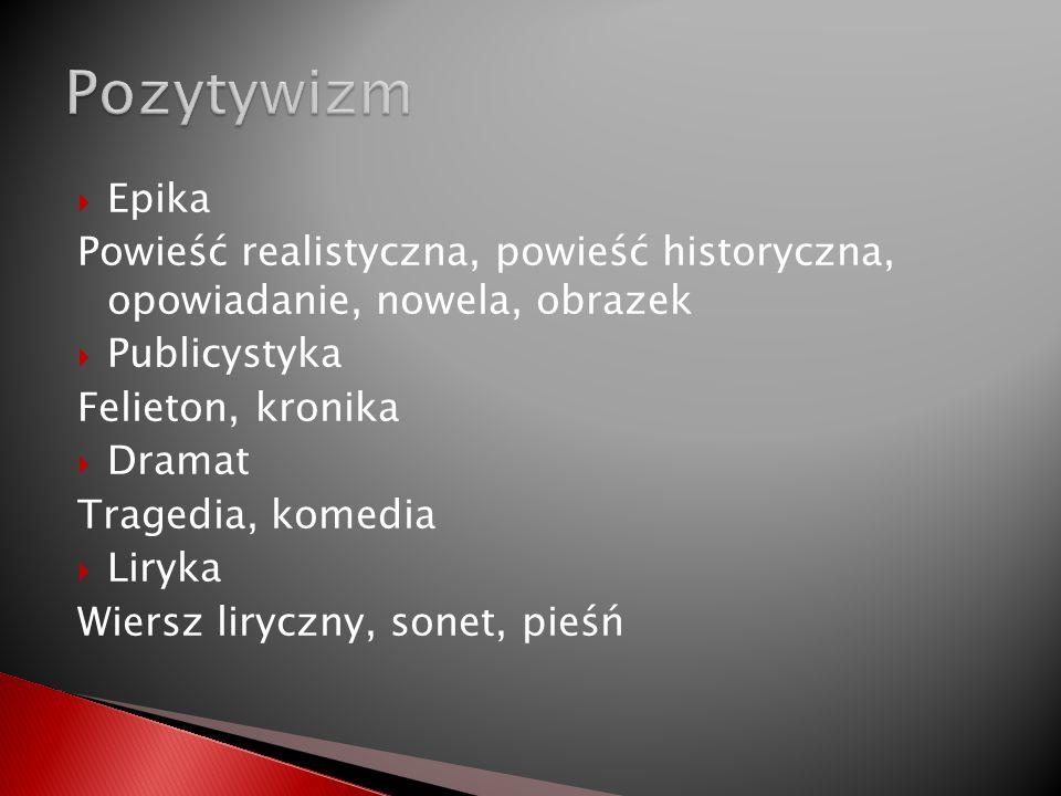 Pozytywizm Epika. Powieść realistyczna, powieść historyczna, opowiadanie, nowela, obrazek. Publicystyka.