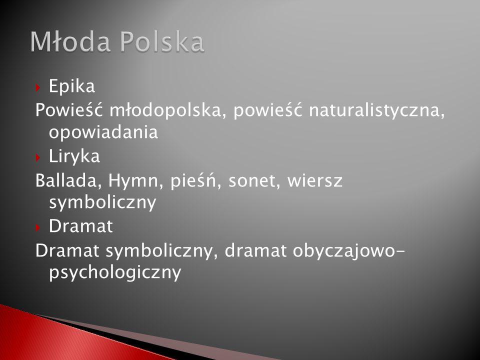 Młoda Polska Epika. Powieść młodopolska, powieść naturalistyczna, opowiadania. Liryka. Ballada, Hymn, pieśń, sonet, wiersz symboliczny.