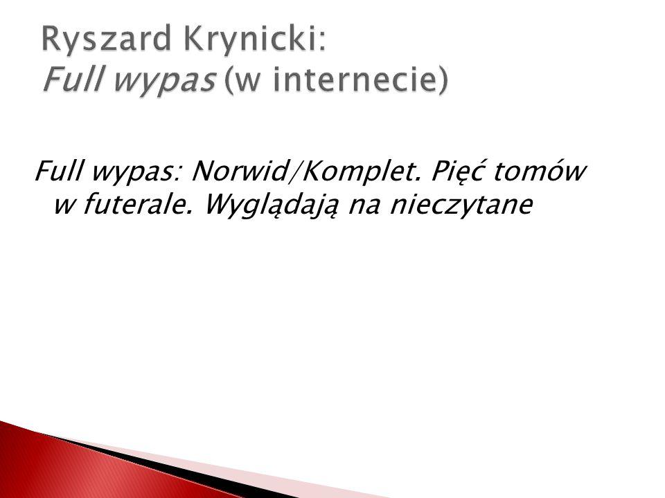 Ryszard Krynicki: Full wypas (w internecie)
