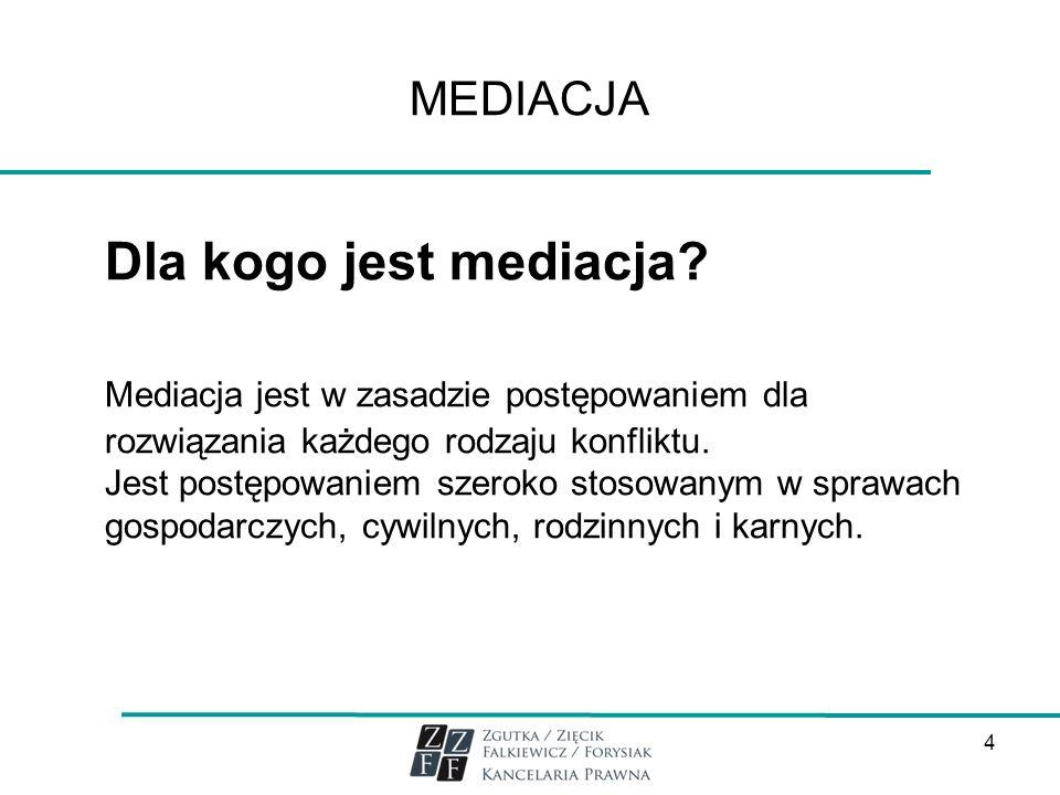 MEDIACJA Dla kogo jest mediacja Mediacja jest w zasadzie postępowaniem dla rozwiązania każdego rodzaju konfliktu.