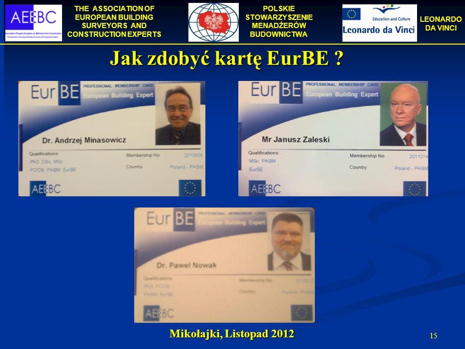 Jak zdobyć kartę EurBE Mikołajki, Listopad 2012