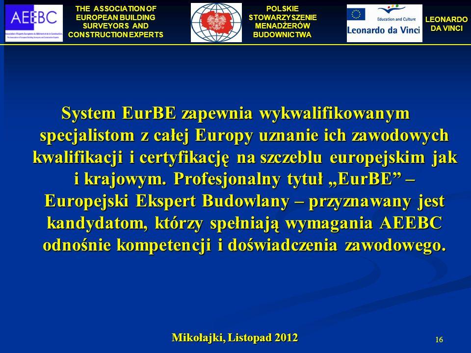 """System EurBE zapewnia wykwalifikowanym specjalistom z całej Europy uznanie ich zawodowych kwalifikacji i certyfikację na szczeblu europejskim jak i krajowym. Profesjonalny tytuł """"EurBE – Europejski Ekspert Budowlany – przyznawany jest kandydatom, którzy spełniają wymagania AEEBC odnośnie kompetencji i doświadczenia zawodowego."""