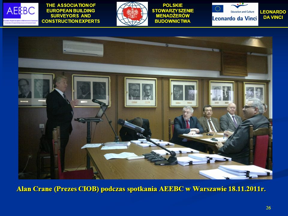 Alan Crane (Prezes CIOB) podczas spotkania AEEBC w Warszawie 18. 11