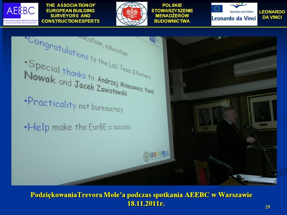 PodziękowaniaTrevora Mole'a podczas spotkania AEEBC w Warszawie 18. 11