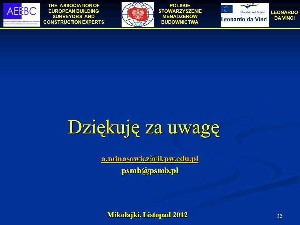 Dziękuję za uwagę a.minasowicz@il.pw.edu.pl psmb@psmb.pl