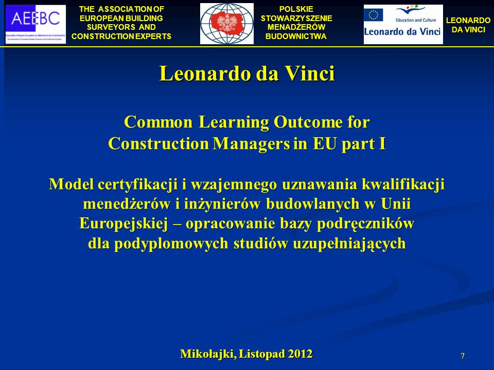 Common Learning Outcome for Construction Managers in EU part I