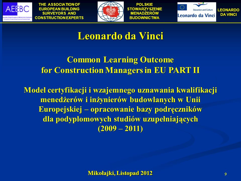 Common Learning Outcome for Construction Managers in EU PART II