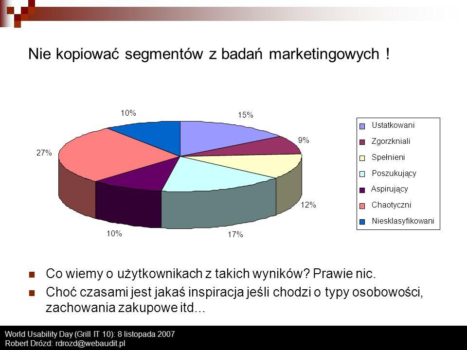 Nie kopiować segmentów z badań marketingowych !