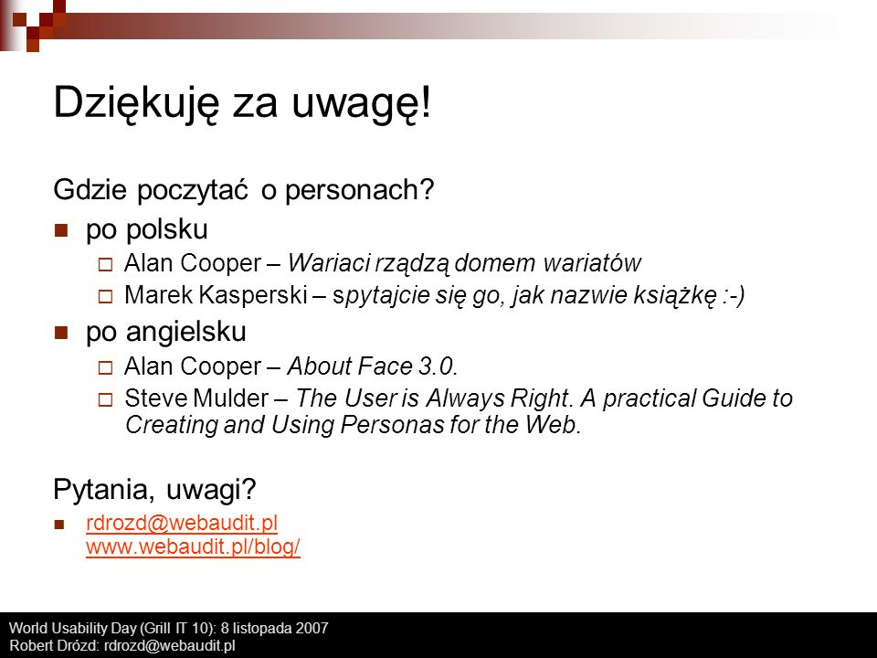 Dziękuję za uwagę! Gdzie poczytać o personach po polsku po angielsku
