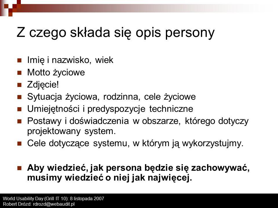 Z czego składa się opis persony
