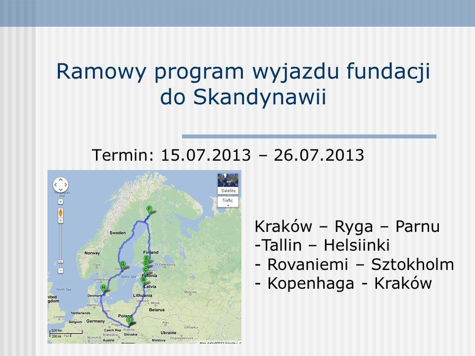 Ramowy program wyjazdu fundacji do Skandynawii