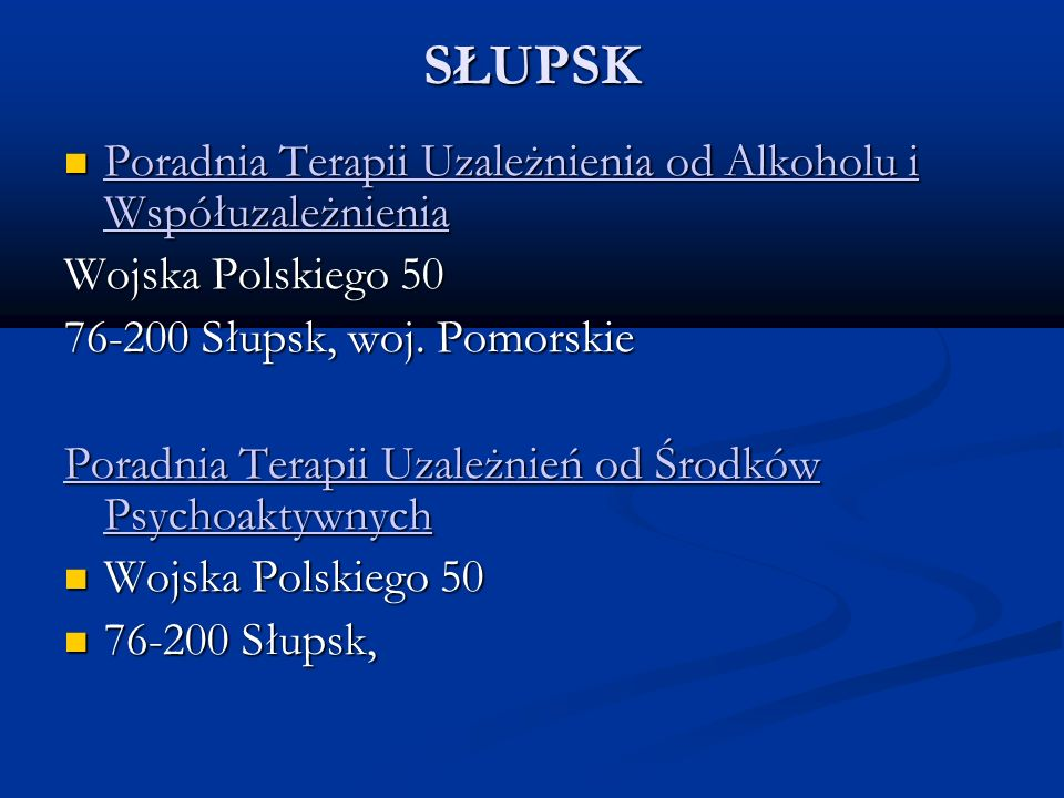 SŁUPSK Poradnia Terapii Uzależnienia od Alkoholu i Współuzależnienia