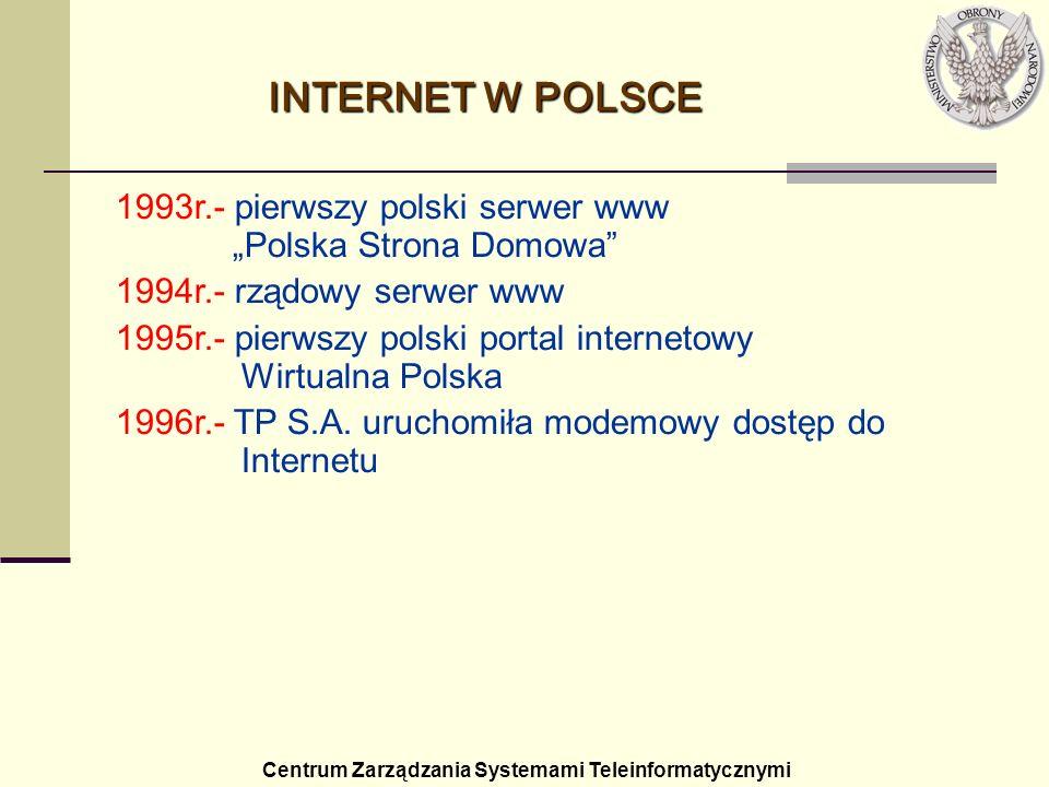 """INTERNET W POLSCE1993r.- pierwszy polski serwer www """"Polska Strona Domowa 1994r.- rządowy serwer www."""