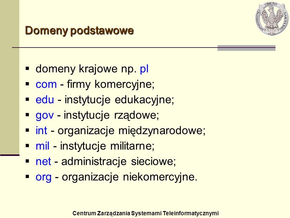 com - firmy komercyjne; edu - instytucje edukacyjne;