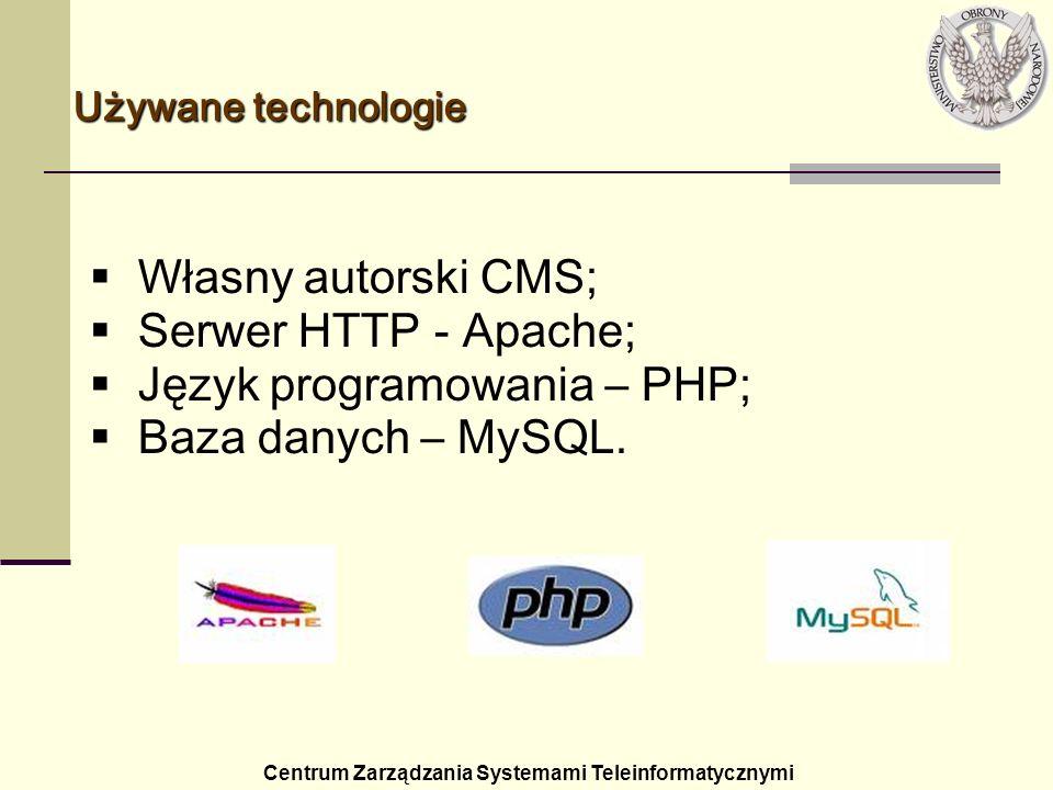 Język programowania – PHP; Baza danych – MySQL.