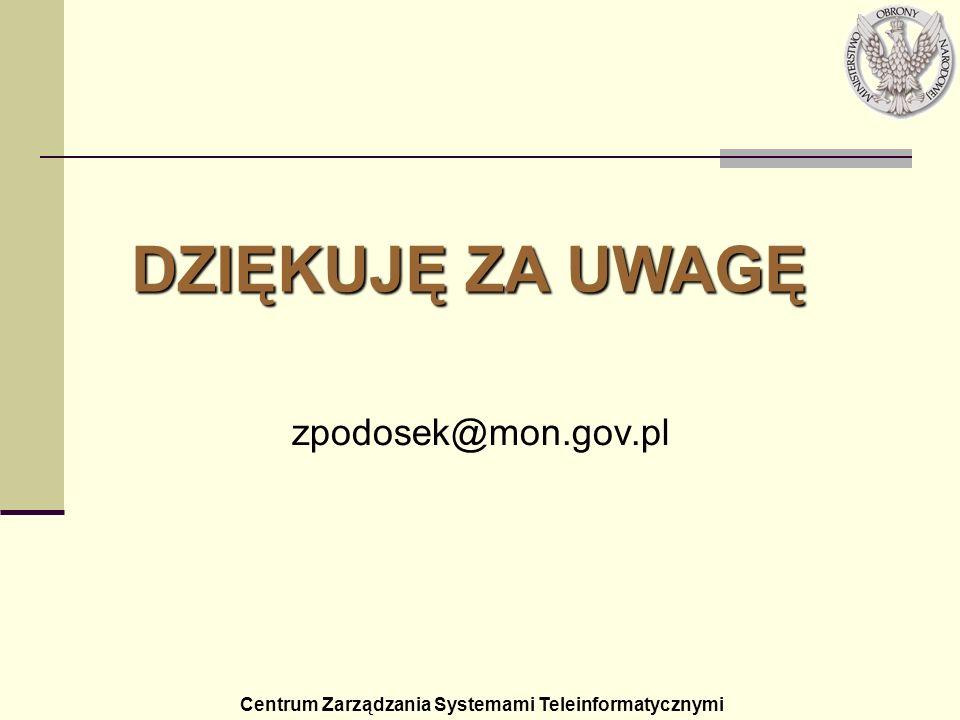 DZIĘKUJĘ ZA UWAGĘ zpodosek@mon.gov.pl