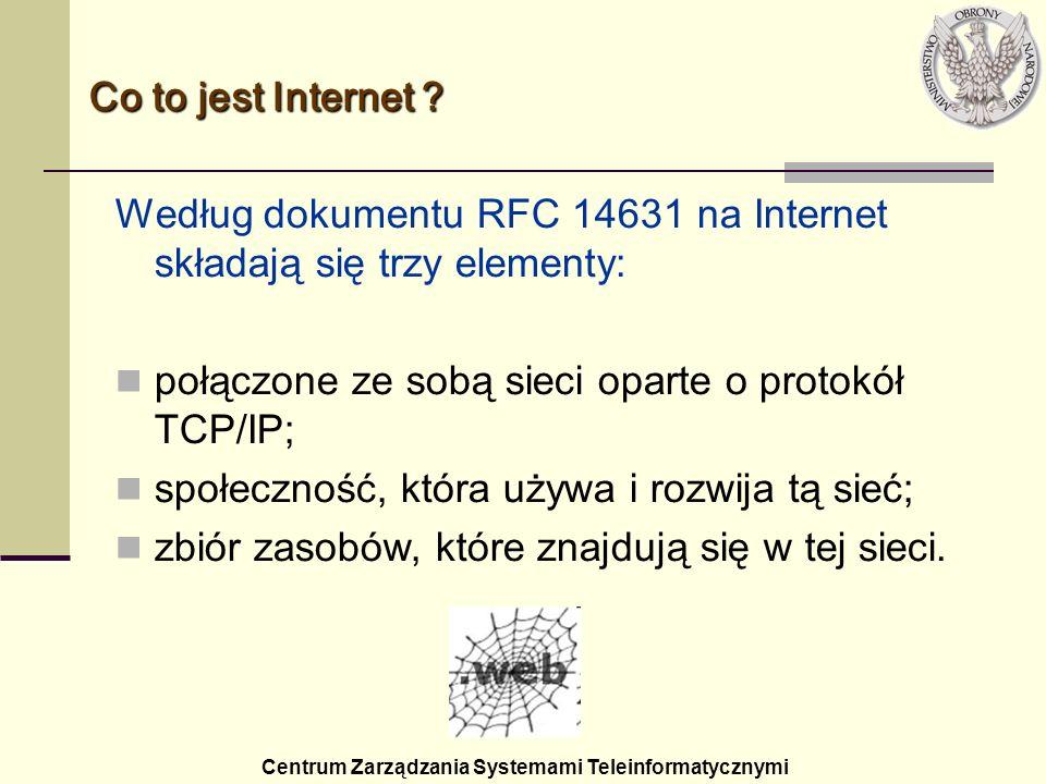 Według dokumentu RFC 14631 na Internet składają się trzy elementy: