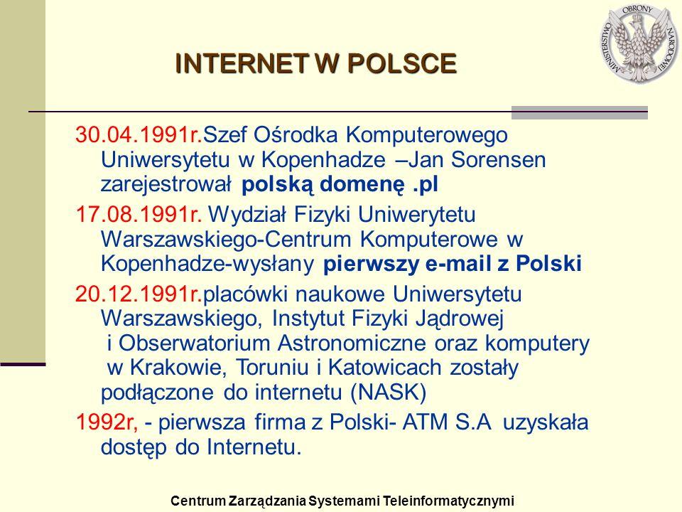 INTERNET W POLSCE30.04.1991r.Szef Ośrodka Komputerowego Uniwersytetu w Kopenhadze –Jan Sorensen zarejestrował polską domenę .pl.