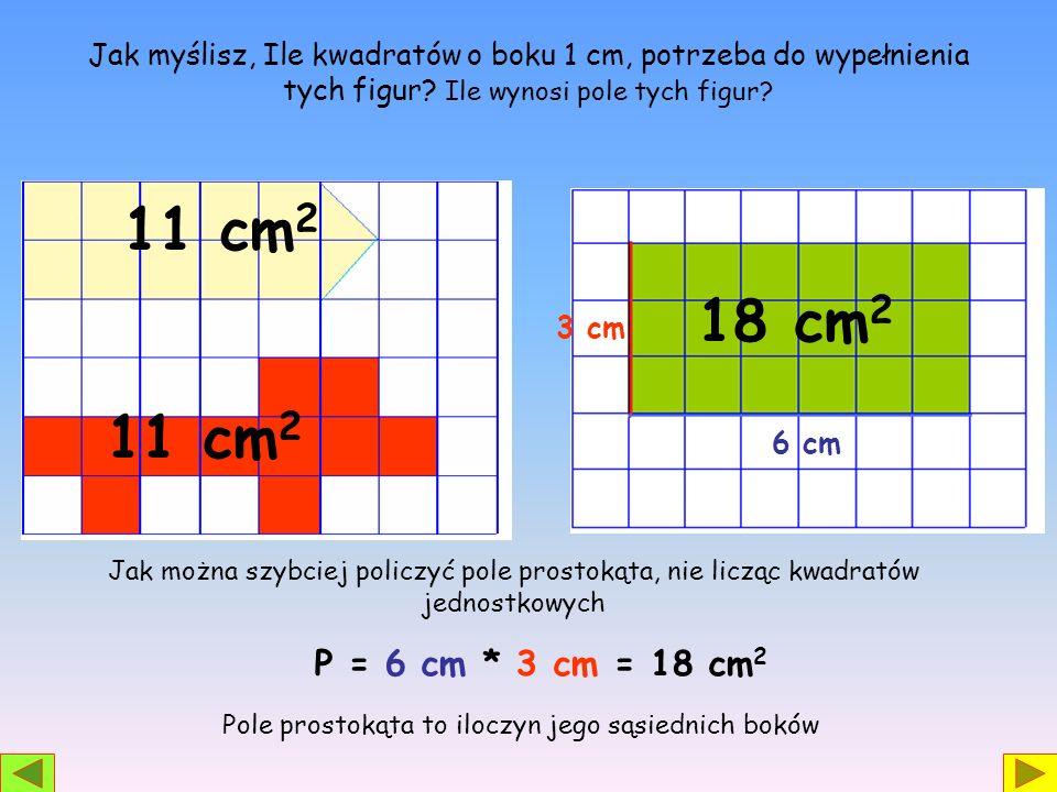 Jak myślisz, Ile kwadratów o boku 1 cm, potrzeba do wypełnienia tych figur Ile wynosi pole tych figur