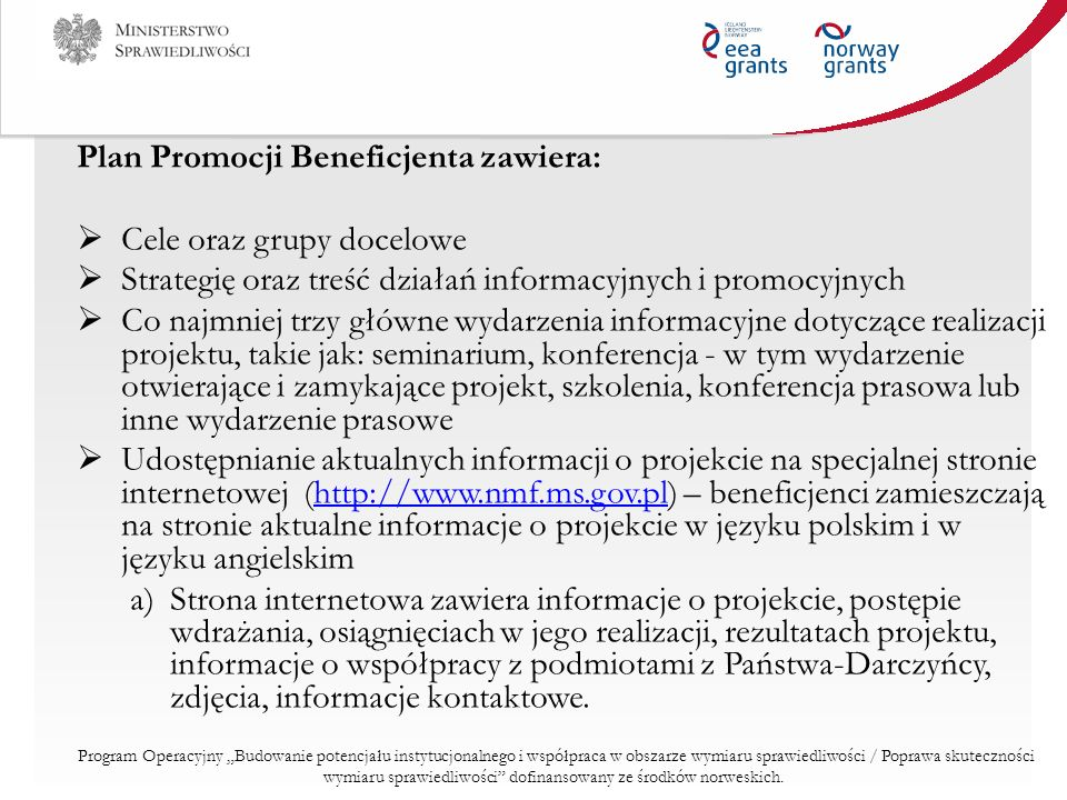 Plan Promocji Beneficjenta zawiera: Cele oraz grupy docelowe