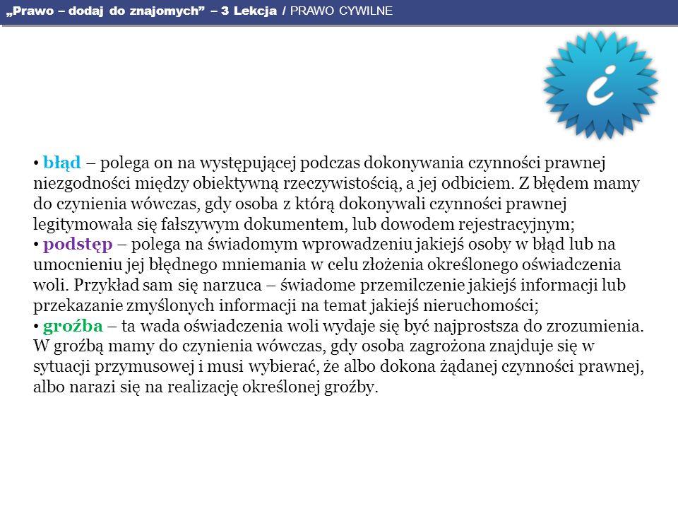 """""""Prawo – dodaj do znajomych – 3 Lekcja / PRAWO CYWILNE"""