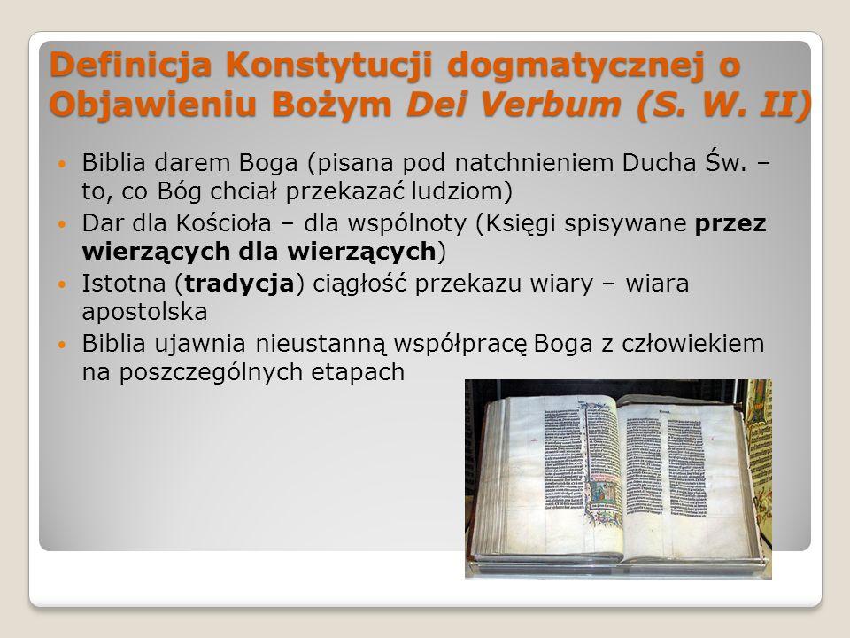 Definicja Konstytucji dogmatycznej o Objawieniu Bożym Dei Verbum (S. W