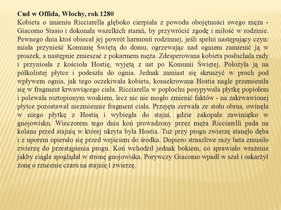 Cud w Offida, Włochy, rok 1280