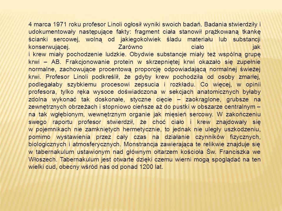4 marca 1971 roku profesor Linoli ogłosił wyniki swoich badań