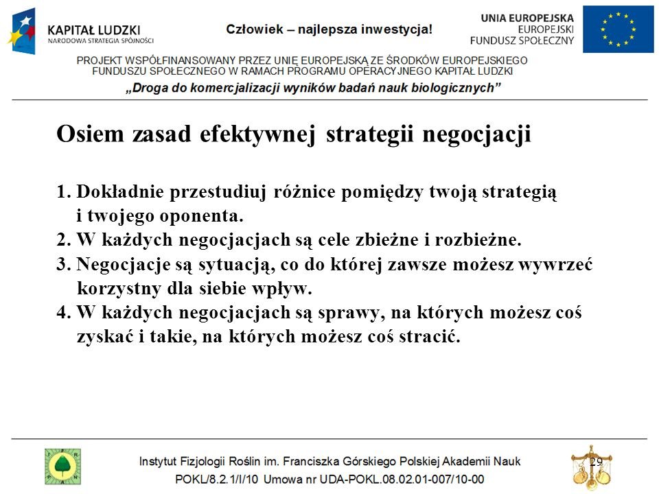 Osiem zasad efektywnej strategii negocjacji 1