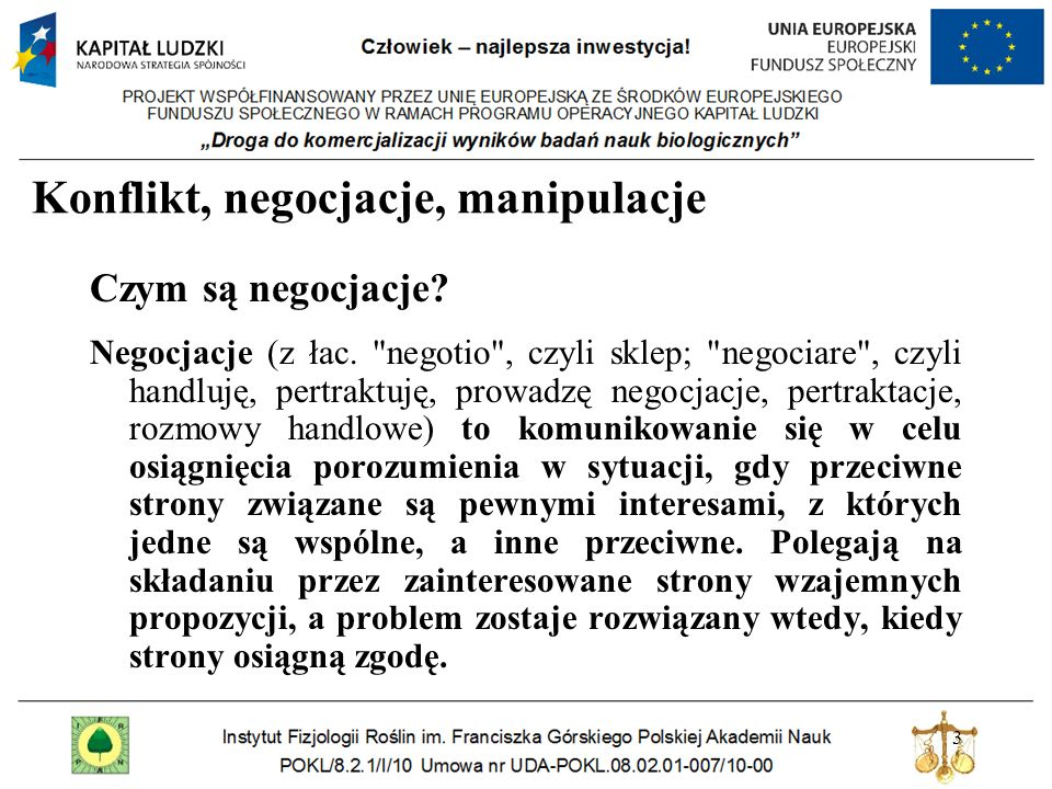 Konflikt, negocjacje, manipulacje