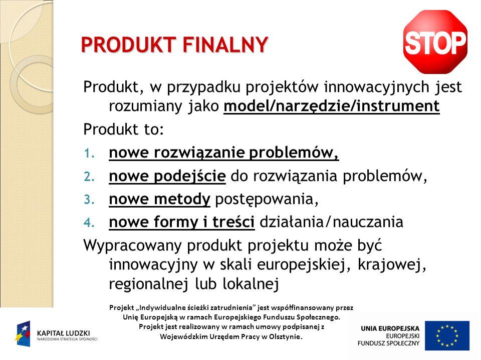 PRODUKT FINALNY Produkt, w przypadku projektów innowacyjnych jest rozumiany jako model/narzędzie/instrument.