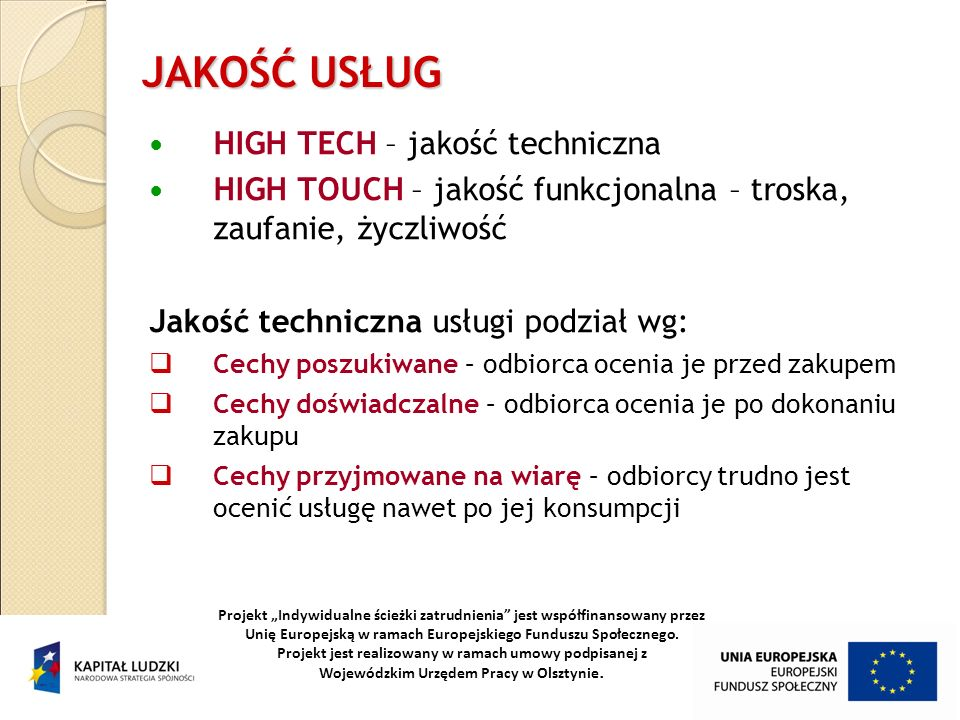 JAKOŚĆ USŁUG HIGH TECH – jakość techniczna