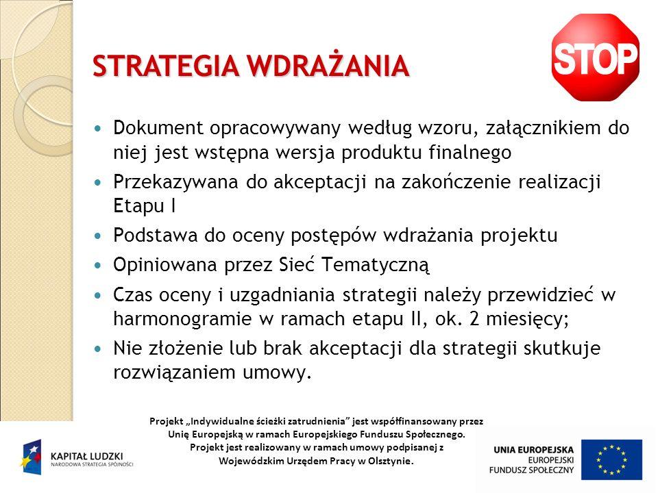 STRATEGIA WDRAŻANIA Dokument opracowywany według wzoru, załącznikiem do niej jest wstępna wersja produktu finalnego.