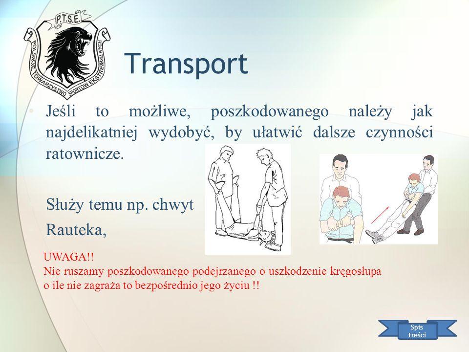 Transport Jeśli to możliwe, poszkodowanego należy jak najdelikatniej wydobyć, by ułatwić dalsze czynności ratownicze.