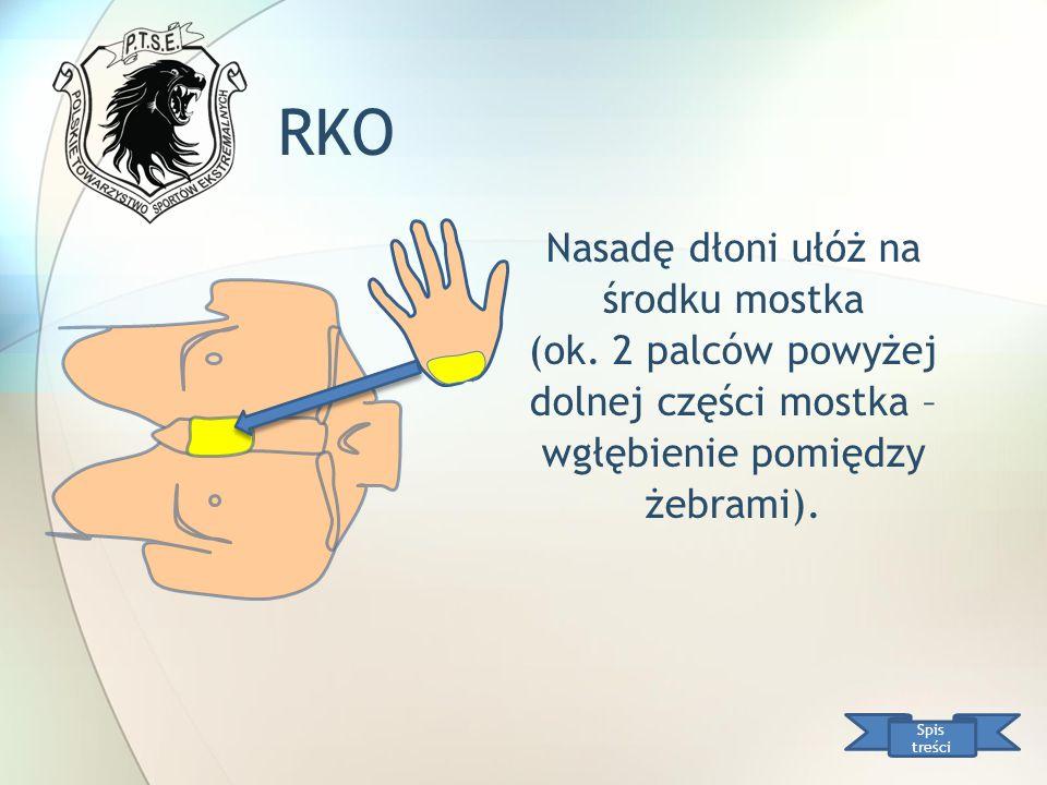 RKO Nasadę dłoni ułóż na środku mostka (ok. 2 palców powyżej dolnej części mostka – wgłębienie pomiędzy żebrami).