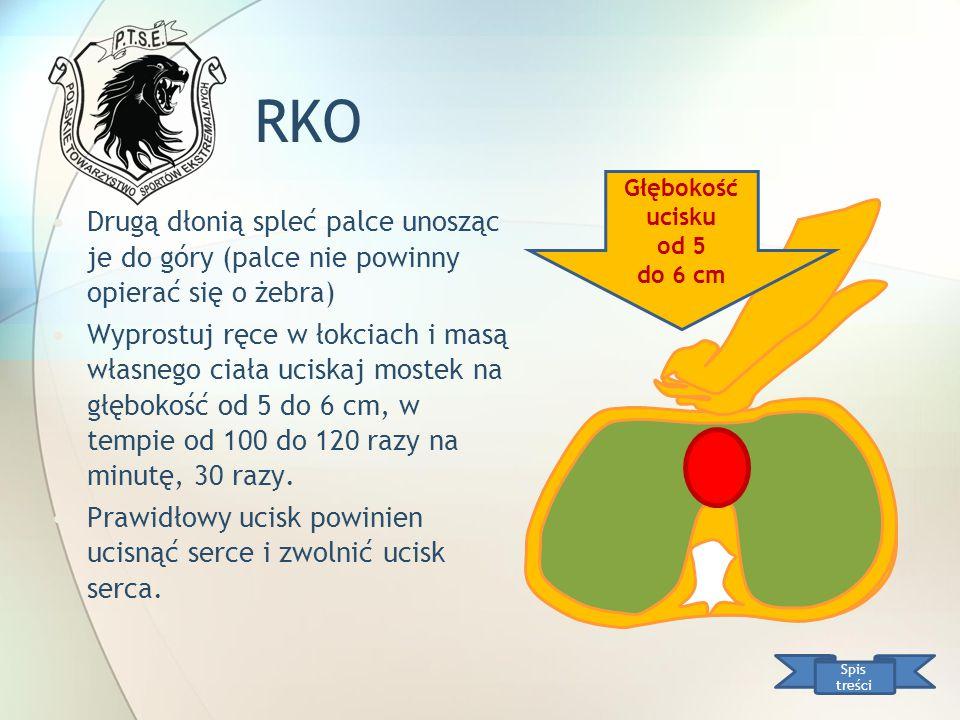 RKO Głębokość ucisku. od 5. do 6 cm. Drugą dłonią spleć palce unosząc je do góry (palce nie powinny opierać się o żebra)