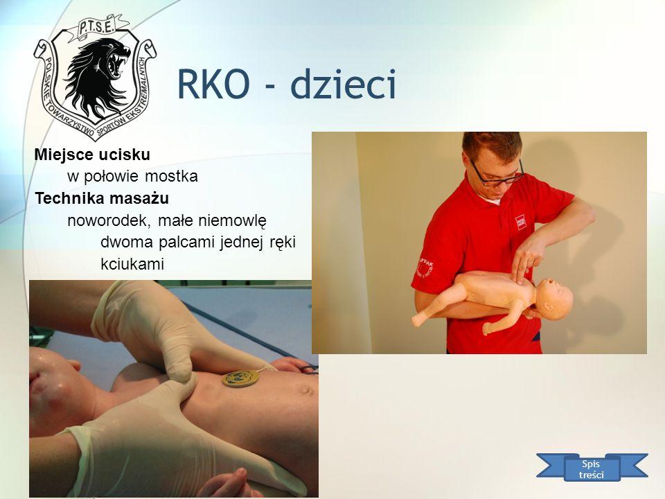 RKO - dzieci Miejsce ucisku w połowie mostka Technika masażu