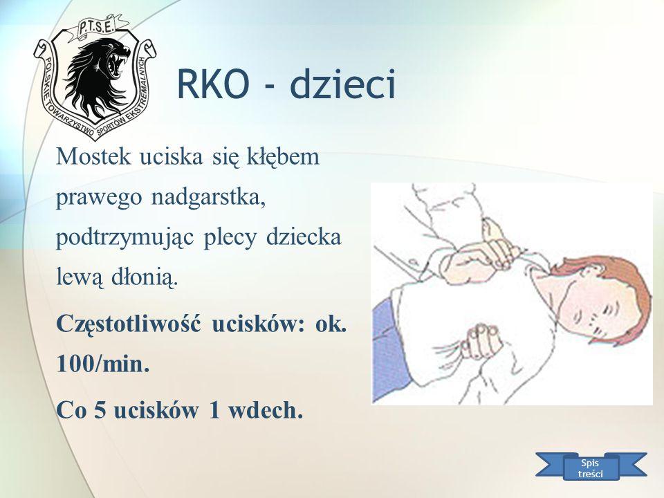 RKO - dzieci Mostek uciska się kłębem prawego nadgarstka, podtrzymując plecy dziecka lewą dłonią. Częstotliwość ucisków: ok. 100/min.