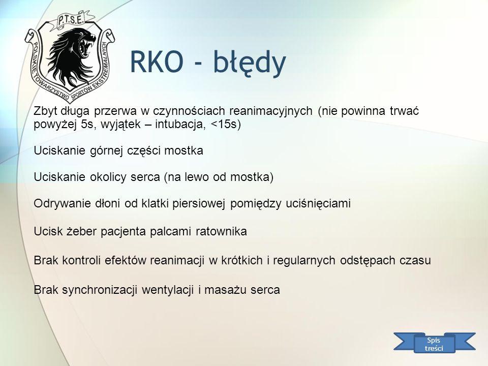 RKO - błędy Zbyt długa przerwa w czynnościach reanimacyjnych (nie powinna trwać powyżej 5s, wyjątek – intubacja, <15s)