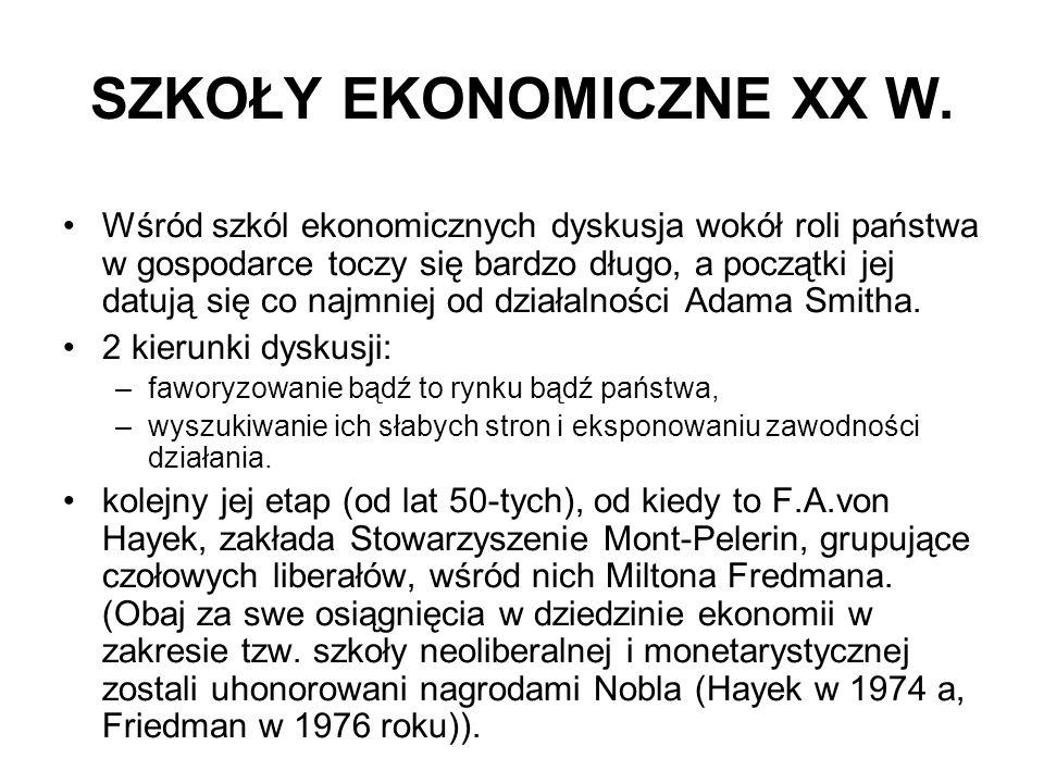 SZKOŁY EKONOMICZNE XX W.