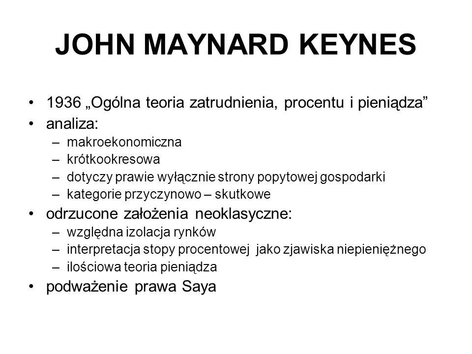 """JOHN MAYNARD KEYNES 1936 """"Ogólna teoria zatrudnienia, procentu i pieniądza analiza: makroekonomiczna."""