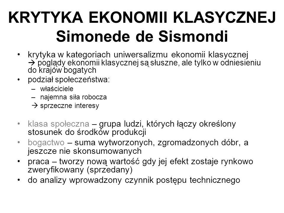 KRYTYKA EKONOMII KLASYCZNEJ Simonede de Sismondi