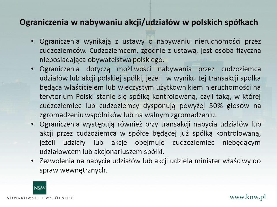 Ograniczenia w nabywaniu akcji/udziałów w polskich spółkach