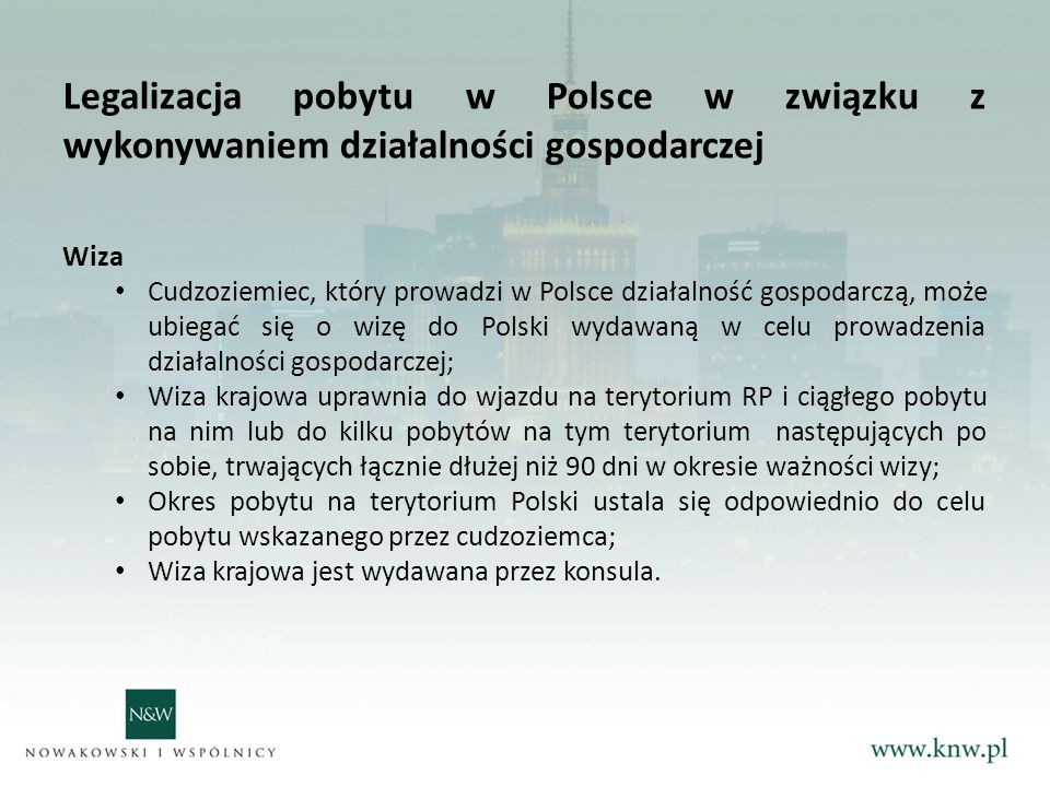 Legalizacja pobytu w Polsce w związku z wykonywaniem działalności gospodarczej