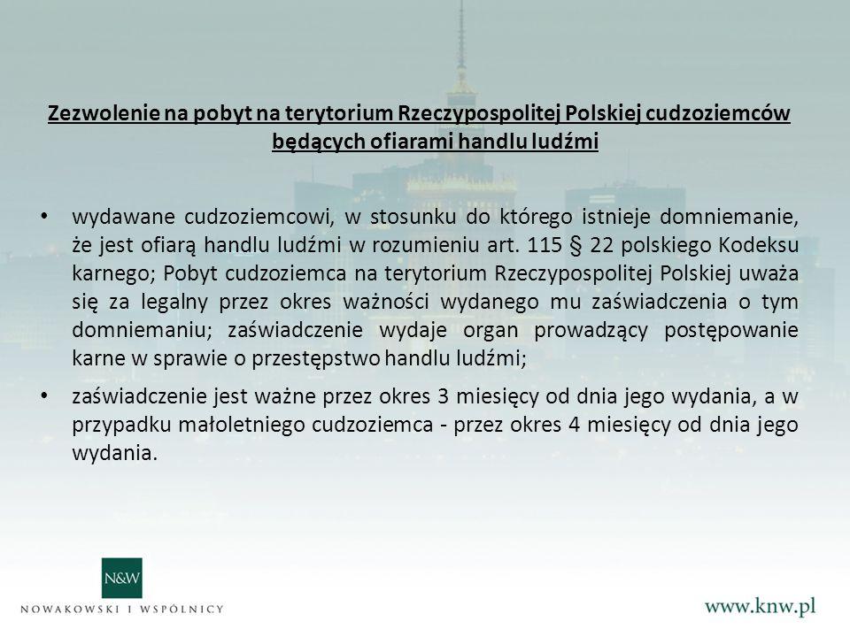 Zezwolenie na pobyt na terytorium Rzeczypospolitej Polskiej cudzoziemców będących ofiarami handlu ludźmi
