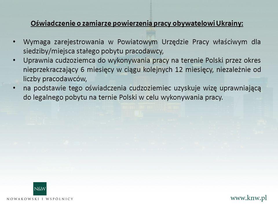 Oświadczenie o zamiarze powierzenia pracy obywatelowi Ukrainy: